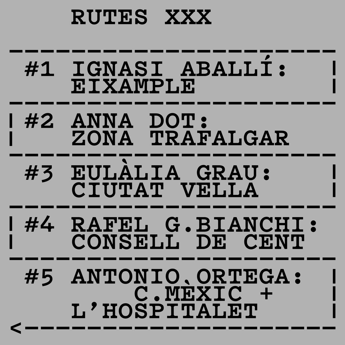 RUTES XXX. Ignasi Aballí, Anna Dot, Eulàlia Grau, Rafel G. Bianchi, Antonio Ortega